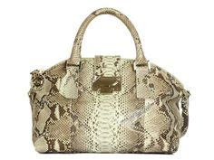 Jimmy Choos Natural Python Rosa flap so cool - the way it follows along with the marking on the bag!  Open the tab lock on the flap to the gold zipper underneath to get to the Choo lining with a zipped pocket a slide pocket - goalsBox™