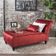 Rafaela Tufted New Velvet Chaise Lounge (Garnet)