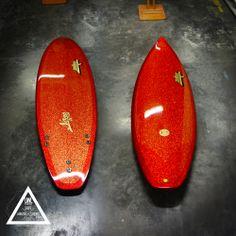 Metal flake, polish, gold leaf, seventeen model by UWL surfboards #madeinfrance #surfboards #shortboard #uwl