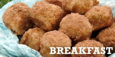 """Scrumptious Baked Cinnamon Breakfast Bites From the page: """"These baked Cinnamon Breakfast Bites mimic what I love about donut holes but without all the added stress and calories. Breakfast Bites, Breakfast Recipes, Dessert Recipes, Breakfast Pancakes, Breakfast Healthy, Health Breakfast, Toffee, Cake Pops, Biscotti"""