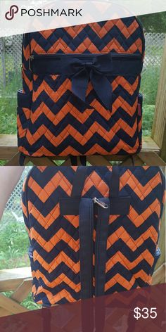 Back pack/ purse Orange and navy blue brand new with out tags super cute!! Bags Backpacks