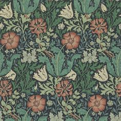 Compton by William Morris. The Original Morris & Co - Arts and crafts, fabrics and wallpaper designs by William Morris & Company William Morris Wallpaper, William Morris Art, Morris Wallpapers, William Morris Patterns, Blue Wallpapers, Motifs Art Nouveau, Art Nouveau Pattern, Vintage Floral Wallpapers, Stoff Design