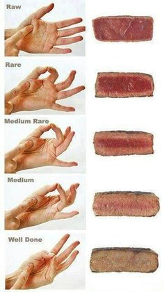 How to tell the consistency of your steak with your hands! Stop cutting into your steak while it is cooking. Any chef or cook determines doneness by feeling it. Also, let the steak rest for 5 to 10 minutes before cutting into it. Think Food, Love Food, Cooking Tips, Cooking Recipes, Cooking Steak, Cooking Food, Cooking Videos, Healthy Recipes, Cooking The Perfect Steak