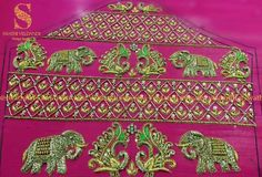 Beautiful elephant and peacock design hand embroidery gold thread work. Wedding Saree Blouse Designs, Pattu Saree Blouse Designs, Designer Blouse Patterns, Fancy Blouse Designs, Kutch Work Designs, Hand Designs, Sleeve Designs, Work Blouse, Sarees
