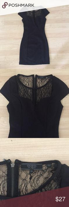 Guess Bodycon Dress XS Lace neckline and bodycon style. So cute and excellent condition. Guess Dresses Mini