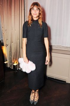 Alexa Chung knows how to make a statement in a LBD // Wearing Shrimps Daisy Faux Fur Clutch and lace pumps