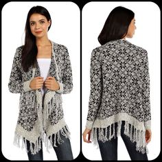 Snowflake Fringe Cardigan! Get it now @ reallyroxie.com!