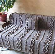 Для дома и интерьера ручной работы. Ярмарка Мастеров - ручная работа Плед вязаный (покрывало, одеяло) Королевкие косы. Handmade.