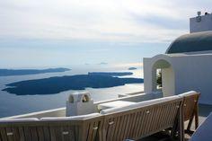 Views on the hike to Skaros from Fira, Santorini Greece
