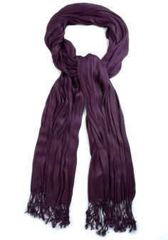 Crinkle in Time Scarf in Grape - Purple, Solid, Fringed, Party, Casual, Fall, Minimal, Top Rated