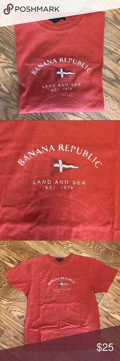 BANANA REPUBLIC Vintage S/Sleeve T   EUC     L BANANA REPUBLIC Vintage Short Sleeve T Shirt! Very cool shirt! This was mine. Well cared for. Excellent Condition! True Vintage! NICE! Men's Size L Armpit to armpit: 22 inches  Top of back collar to bottom of shirt: 26 1/2 inches  Top shoulder hem to tip of sleeve: 9 inches Banana Republic Shirts Tees - Short Sleeve