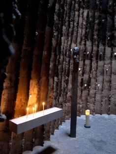Peter Zumthor/Bruder Klaus Field Chapel  Burnt into existence when the frame of the chapel was lit after all the concrete was poured, leaving behind an irregular, charred wall ascending to the heavens.