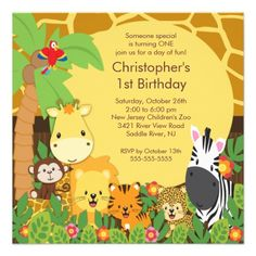 474 Best Jungle Birthday Party Invitations Images In 2018 Animal