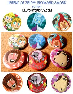 """""""Master, the batteries in your Wii Remote are nearly depleted!!!""""  A set of 6 buttons for you to show off your love for the video game, Legend of Zelda: Skyward Sword! #zelda #legendofzelda #ghirahim #link #groose"""