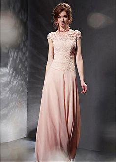 In Stock Elegant Composite Filament & Malay Satin Bateau Neckline Full Length A-line Prom Dress