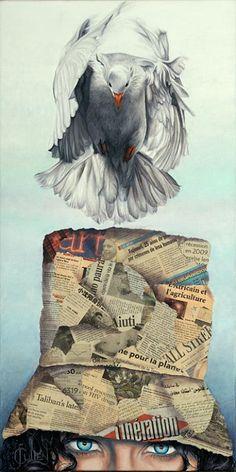 Johanne Cullen ~ Le poids de la conscience, oil on canvas, 30x15