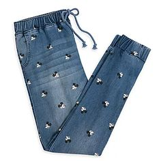 Keep it comfy and classic with our denim jogger pants for juniors featuring an allover print of Mickey Mouse's iconic face. The elastic waist and ankle cuffs, plus the loose fit, make a bold but relaxed style statement. Galaxy Shorts, Neon Shorts, Denim Jogger Pants, Denim Backpack, Frozen Costume, Comfy Pants, Women's Pants, Disney Outfits, Girls Jeans