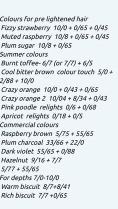 Wella colour formulas