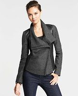 """Foldover Sweater Jacket - Sleek faux leather ups the wow factor of this moto-inspired jacket, stylishly designed in rich wool jersey with an asymmetrical zip front. Foldover collar. Long sleeves. On-seam pockets with hidden zippers. Lined. 20 1/2"""" long."""