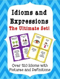 120 illustrated idioms and expressions along with their definitions!!!There are so many uses for this set  here are a few ideas: Bulletin board Word wallMatching  match the meaning to the idiomDefining  define the idiomSentences  use the idiom in a sentence  great in therapy and in literacy groupsMemory/Concentration game  matching idiom to definitionDiscuss how you think the idiom came to beYou will use this resource over and over again!!!Check the preview for more information and images!!!