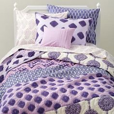 Kids' Bedding: Girls' Purple Patterned Cotton Bedding