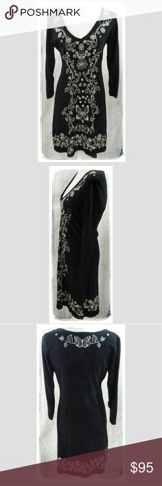 JOHNNY WAS Black & White Dress Perfect Condition black dress with white embroidery, SIZE M Johnny Was Dresses