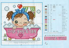 ENCANTOS EM PONTO CRUZ: Meninas Just Cross Stitch, Cross Stitch Baby, Cross Stitch Designs, Cross Stitch Patterns, Embroidery Techniques, Baby Shower Parties, Cross Stitching, Beading Patterns, Kids Playing
