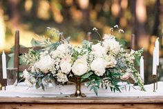 Image result for ivory, green and blush long low wedding centerpiece