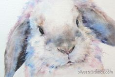 This bunny watercolor is available as a cute art print and greeting cards.  Perfect for the bunny art nursery and for anyone who loves bunnies for decor!  To view more animal art by Teresa Silvestri, visit www.SilvestriStudios.com  (Photo reference thanks to East Bay Rabbit Rescue)