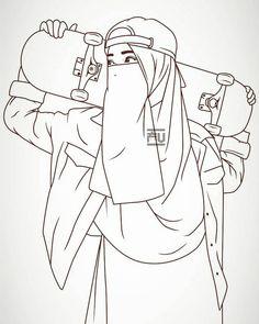 20 Gambar Sketsa Karya Sastra Anime Muslimah Hijab Cartoon