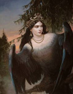 The prophetic bird by Andrey Shishkin(well-known artist, who was born in Moscow in 1960. Here he lives and works now. This Russian artist works in the style of realistic academic painting and creates paintings that delight in its splendor).