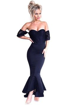 acfbd7852ec Navy Lace Embellished Strapless Party Dress Yellow Evening Dresses