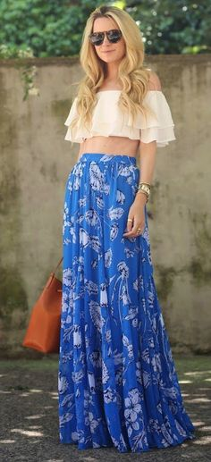 #casual #outfits #spring #style #inspiration | White ruffled crop top - blue floral maxi skirt