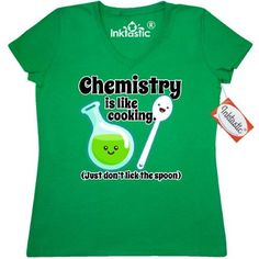 Inktastic Chemistry Cooking Cute Women's V-Neck T-Shirt Chemist Kawaii Clothing Apparel Tees Adult, Size: XXL, Green