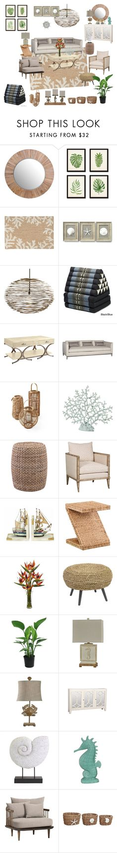 """Coastal Home"" by silverlime2013 ❤ liked on Polyvore featuring interior, interiors, interior design, home, home decor, interior decorating, Liora Manné, Sisley, Serena & Lily and Benzara"