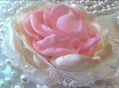 Vintage Inspired Pink and Cream Satin Fabric Flower - Satin Cabbage Rose on Etsy, $15.00