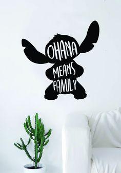 Ohana Means Family Stitch Silhouette Decal Sticker Wall Vinyl Decor Art Movie Kid Teen Lilo Disney Inspirational - green