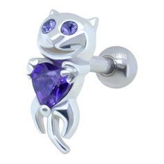 Jewelled Ear Piercing Bar - Purple Cat