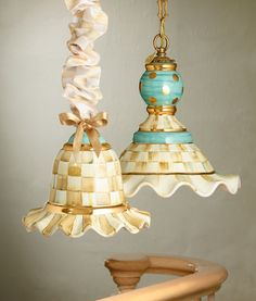 Hand-painted Parchment Check Hanging Lamps add a bright spot to any room. I love Mackenzie childs
