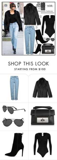 """""""Perfect in black"""" by sofirose ❤ liked on Polyvore featuring Topshop, STELLA McCARTNEY, Yves Saint Laurent, Marc Jacobs, ALDO and Wolford"""