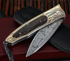 William Henry B30 Wildwood Damascus and Gold Folding Knife - William Henry Knives