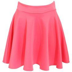 Pilot Ellie Scuba Skater Skirt (120 NOK) ❤ liked on Polyvore featuring skirts, coral, red flared skirt, coral skirt, flared skirt, circle skirt and coral skater skirt