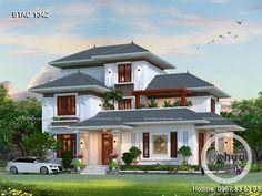 Biệt thự tân cổ điển - Thiết kế nhà 2 tầng đẹp - Mẫu biệt thự mái thái đẹp BTAC1342  #biệt_thự_tân_cổ_điển #mẫu_biệt_thự_2_tầng_mái_thái_đẹp #các_mẫu_nhà_2_tầng_đẹp #biệt_thự_2_tầng_hiện_đại 2 Story House Design, Bungalow House Design, Kerala House Design, 2 Story Houses, Home Fashion, Architecture Design, Exterior, Mansions, House Styles