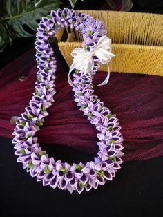 Lavender Velvet Fancy Ribbon Lei | leibling - Floral on ArtFire