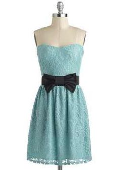 Light soft blue short formal dress strapless black bow lace