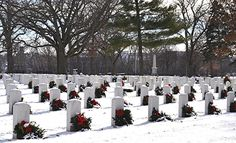 The Rock Island Illinois Arsenal National Cemetery.December on National Wreaths Across America Day, Rock Island Illinois, Veterans Cemetery, Wreaths Across America, National Cemetery, The Rock, Arsenal, December, Usa, Outdoor