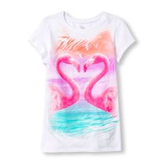 Girls Short Sleeve Photo-Real Flamingo Love Glitter Graphic Tee
