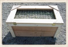 Hay Feeder Box. Really like this style because they cannot get the mesh out. Easy to load/clean. Sturdy.