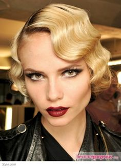 vintage makeup for wedding...Love the hair, the eyes, but not the lips or the frightening expression.