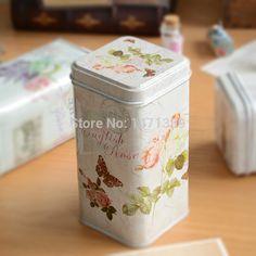 retro exquisite wrought iron storage coffee tin box coffee tin cans square tea tin MH024